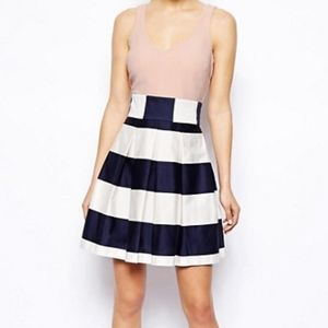ASOS pink top skater dress with striped skirt